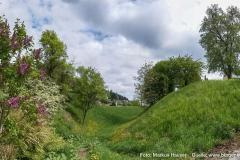 Die nördliche Ecke des vermuteten Königshofes Atarhova. Rechts das Plateau des Kirchberges, links der vorgelagerte Wall und dazwischen der bis zu mehrere Meter tiefe Graben.