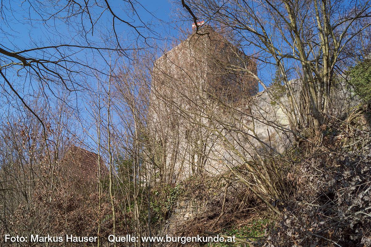 Neben dem markanten Turm samt dem angeschlossenen Torbau, ist nur noch die umlaufende Ringmauer rudimentär vorhanden.