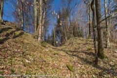 Am südlichsten Ende der Vorburg trennt ein verflachter Graben das Burgareal vom ins Donautal abfallenden Felsgrat.