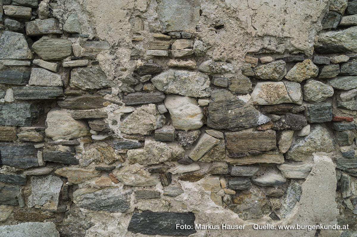Mauerwerk des Palas vmtl. aus Umbauten zwischen dem 14. bis 16. Jhdt.
