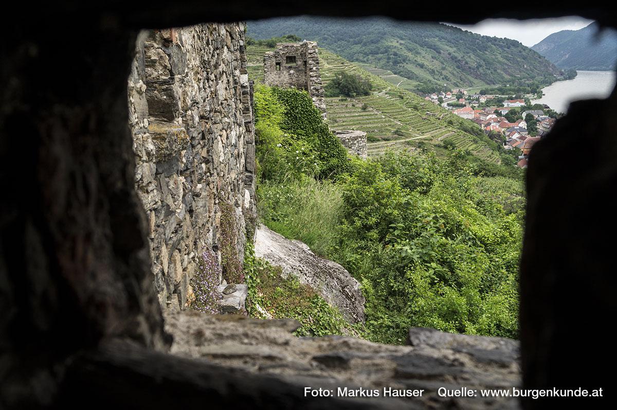 Vom Rundturm an der Südecke der Ruine Hinterhaus konnte wunderbar die komplette Ostseite der Anlage bestrichen werden.