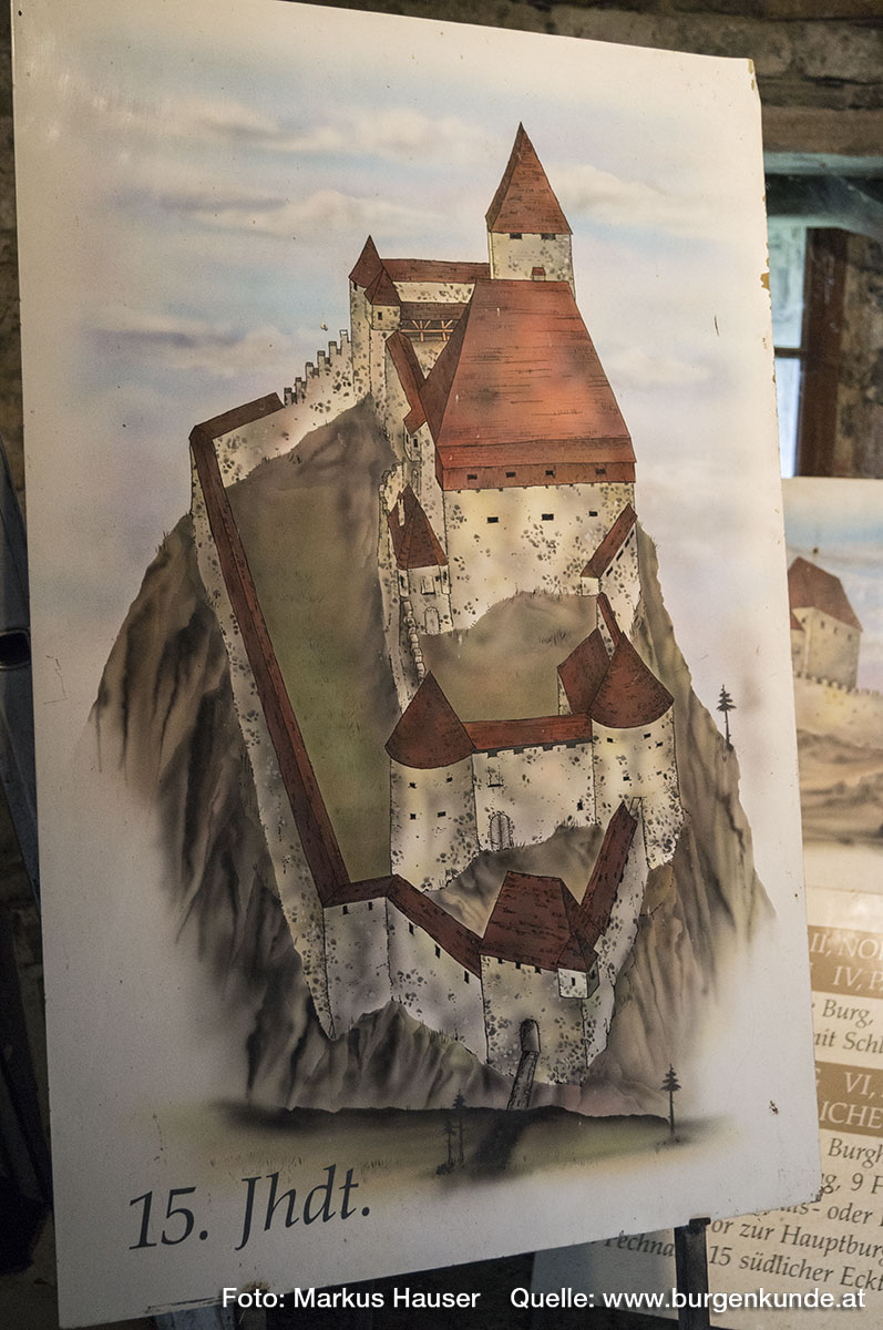 Rekonstruktionsversuch der mittelalterlichen Ruine Hinterhaus.