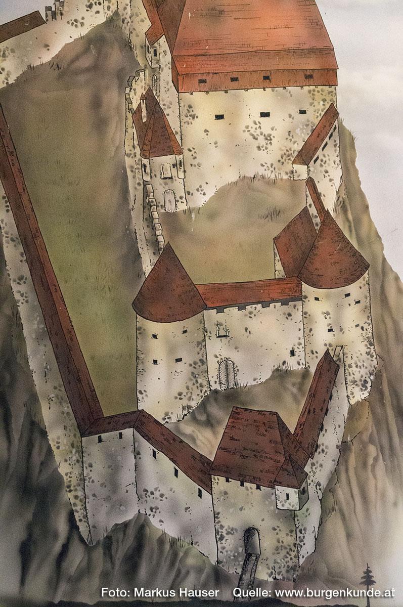Rekonstruktionsversuch der mittelalterlichen Ruine Hinterhaus. Im Bild die Zugangssituation durch die mehrphasige, bastionsartige Vorburg.