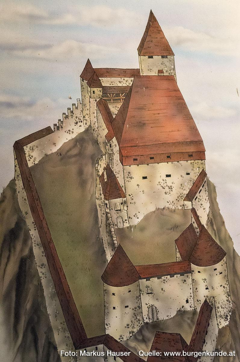 Rekonstruktionsversuch der mittelalterlichen Ruine Hinterhaus. Im Bild die Hauptburg mit dem Palas samt hohem Dach und dem dahinter befindlichen Bergfried.