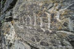 Während der Renovierungsarbeiten wurden die Bezeichnungen der wichtigsten Gebäudeteile in den Stein gemeißelt, hier Palas.