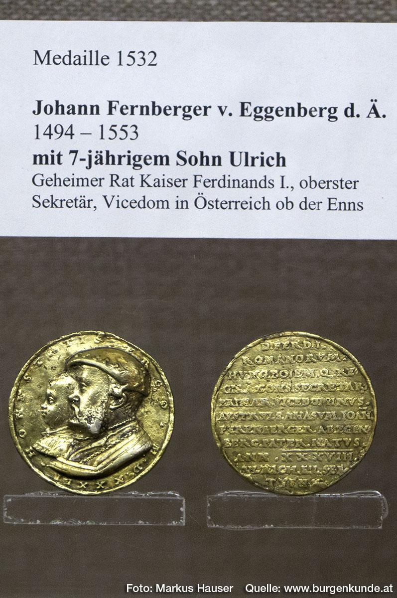 Medaille 1532 zeigt Johann Fernberger von Eggenberg d. Ä. mit 7-jährigen Sohn Ulrich.