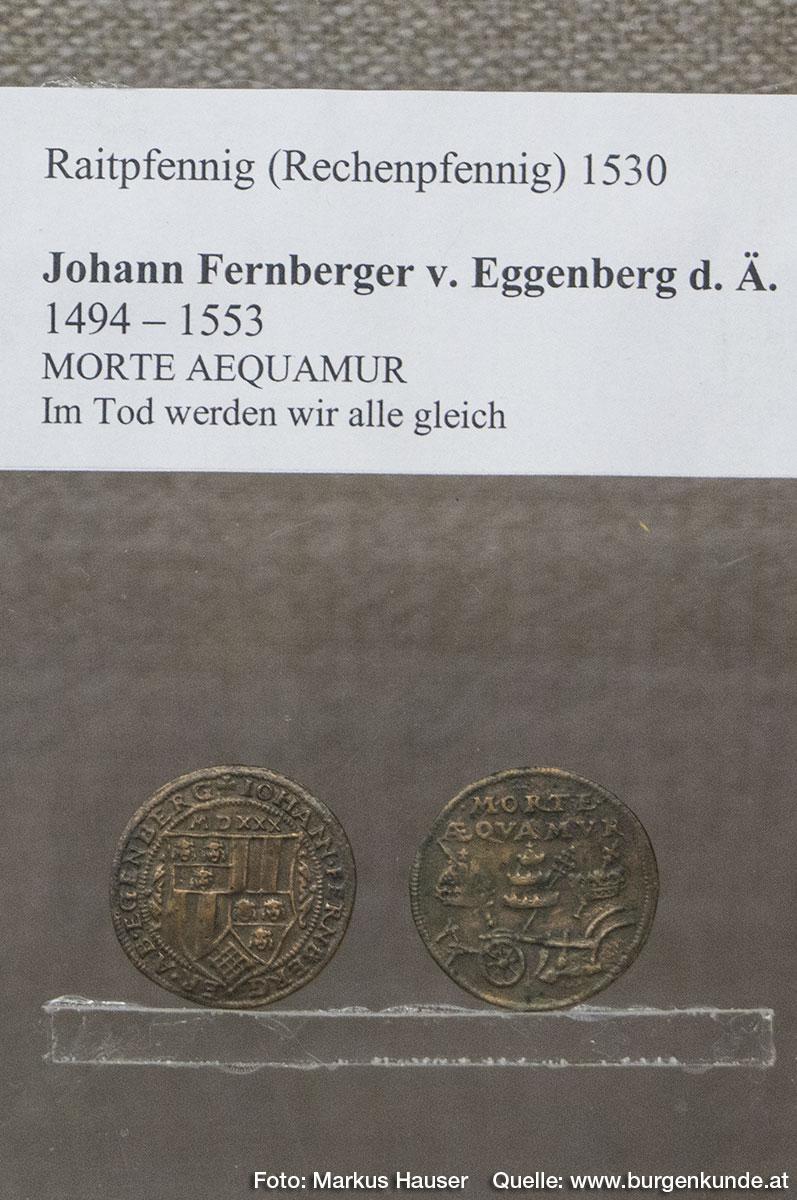 Raitpfennig (Rechenpfennig) 1530 mit Motiv des Johann Fernberger von Eggenberg d. Ä.