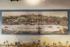 Alter Stich von Mauthausen, Pragstein, mehreren Schiffen und einem Treidelzug auf der Donau. Rechts unten die Einmündung der Enns in die Donau.